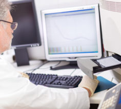 Life science researcher  performing a genotyping testing which enables personalized medicine. PM is a medical model that proposes the customization of healthcare.