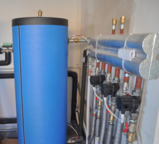 Water tanks in a geothermal heating plant